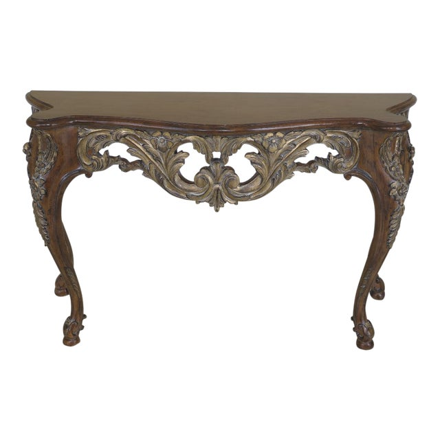 Modern Italian Carved Console Table For Sale