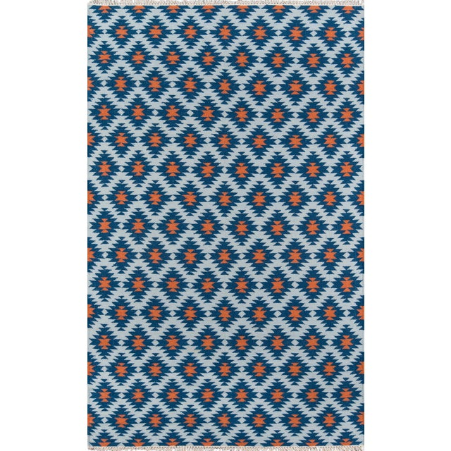 "Erin Gates Thompson Newbury Navy Hand Woven Wool Area Rug 3'6"" X 5'6"" For Sale"