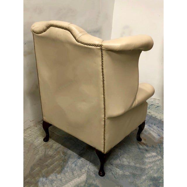Chippendale English Leather Wing Chair For Sale - Image 3 of 6