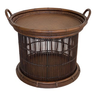 Palecek Rattan Tray Top Cage Side Table For Sale