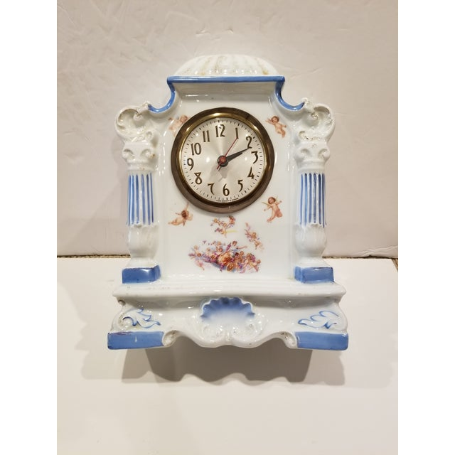 Ceramic Decorative Antique Porcelain Clock With Cherubs For Sale - Image 7 of 10
