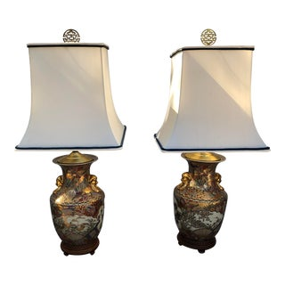 Vintage Satsuma Style Lamps With Shades - a Pair For Sale