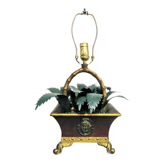 Mastercraft Metal Potted Plant Faux Bamboo Leaf Table Lamp For Sale