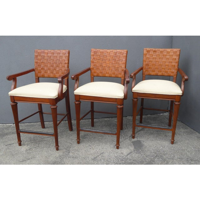 Stanley Furniture Palm Beach Style Rattan Bar Stools - Set of 3 - Image 3 of 13