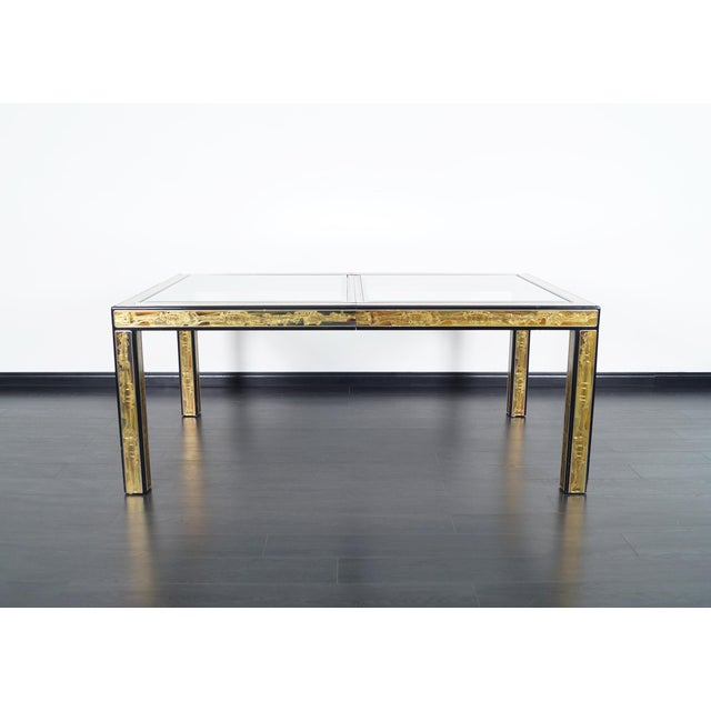 1970s Vintage Etched Brass Dining Table by Mastercraft For Sale - Image 5 of 9