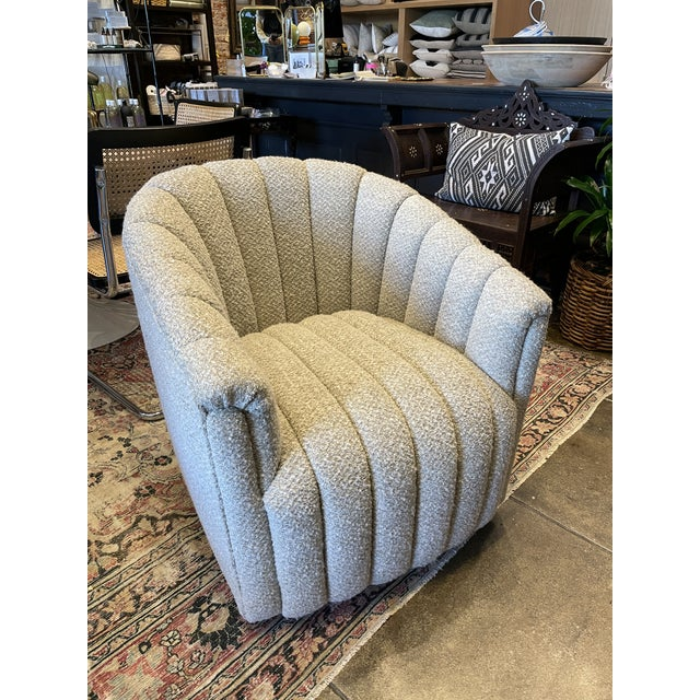 White MCM Reupholstered Boucle Channel Tufted Swivel Chair For Sale - Image 8 of 8