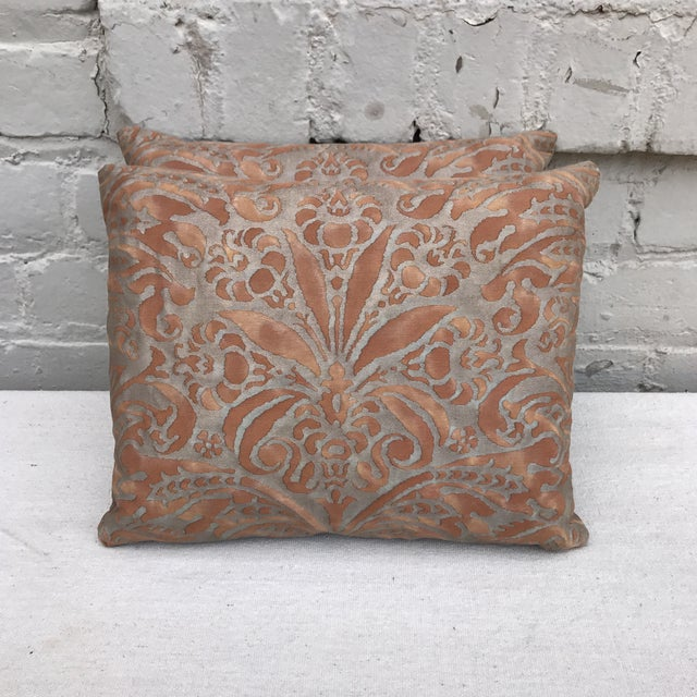 Fortuny Brown & Gold Cotton Pillows- A Pair - Image 2 of 5