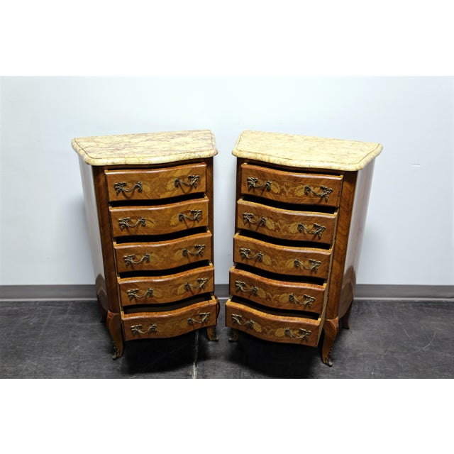 French French Louis XV Style Inlaid Kingwood Marble Top Lingerie Chests - Pair For Sale - Image 3 of 13