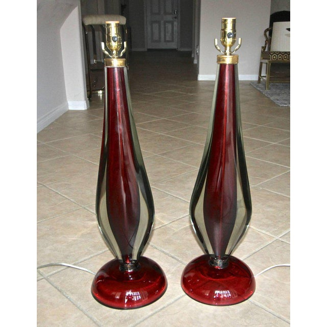 Large Flavio Poli Seguso Sommerso Murano Red Glass Table Lamps - a Pair For Sale - Image 9 of 13