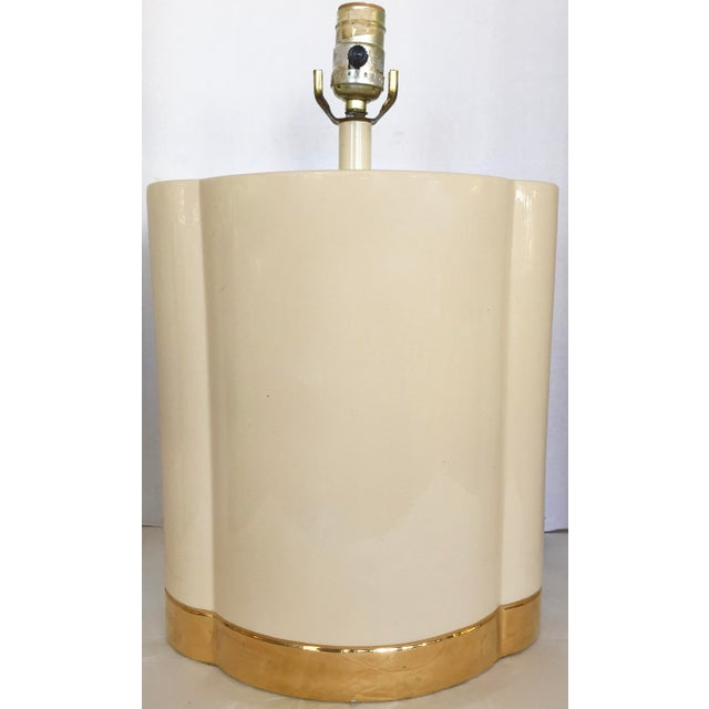 Gold and Beige Ceramic Table Lamp - Image 3 of 7