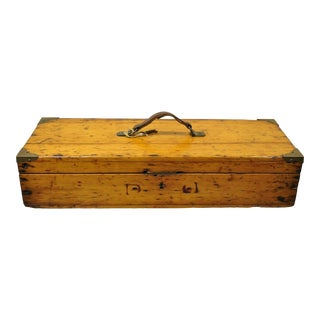 Antique Handmade Primitive Rustic American Wooden Tool Storage Box For Sale