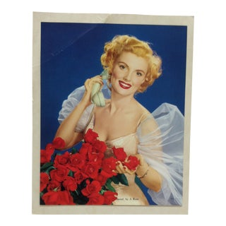 """Vintage Mid-Century """"Sweet as a Rose"""" Mounted Color Print For Sale"""