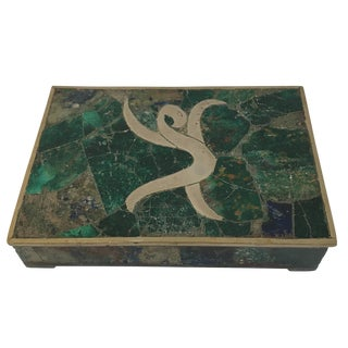 1960s Mid-Century Modern Stone Inlaid Brass Box For Sale