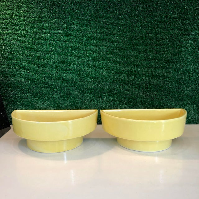 1960s Yellow Ikebana Planters, Pair For Sale - Image 5 of 8