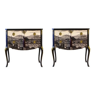 Gustavian Commodes With Reproduced 17th Century Print - a Pair For Sale