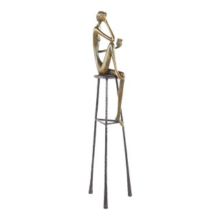 Ruth Bloch Mid Century Bronze Woman Holding a Book Figurine For Sale