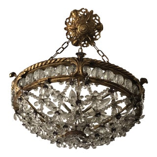 Antique Bronze & Crystal French Chandelier Pendant For Sale