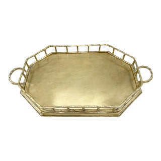 Mid-Century Brass Bamboo Hexagon Tray For Sale