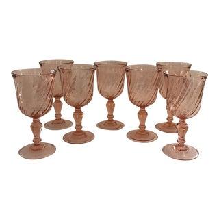 Pink Fostoria Wine Goblets - Set of 7