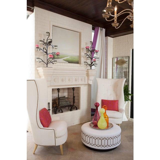 Mid-Century Modern Custom Gudinna Tall Barrel Wing Chair For Sale - Image 3 of 9