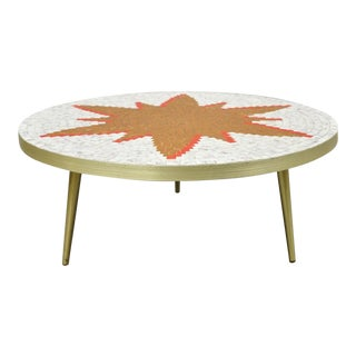 Vintage Mid Century Italian Modern Round Orange Sun Tile Top Coffee Table For Sale