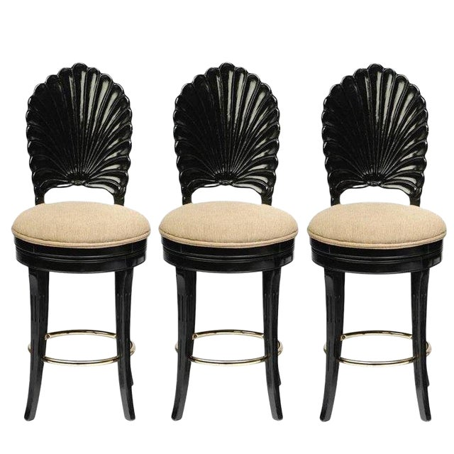 Set of Three Italian Carved Shell Back Bar Stools For Sale