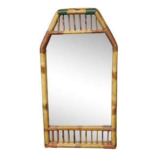 Mid Century Bamboo Wall Mirror For Sale