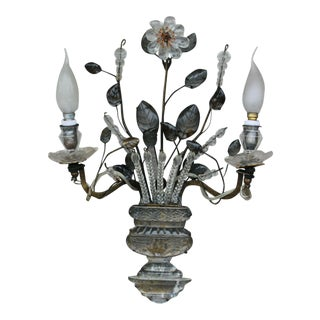 C1940's French Hollywood Regency Maison Bagues Iron & Crystal Floral Wall Sconce For Sale