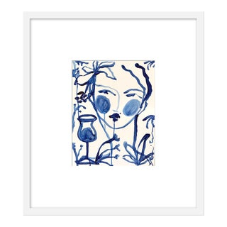 "Medium ""Flowers and Wine Indigo"" Print by Leslie Weaver, 20"" X 23"" For Sale"