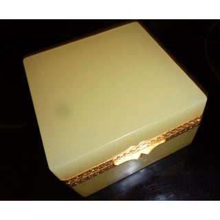 French Opaline Butterscotch Color Glass Box Preview