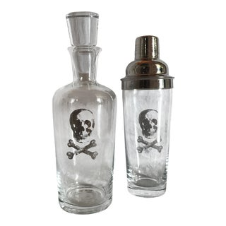Modern Silvered Skull & Cross Bones Decanter/Shaker Bar Set