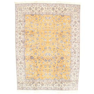 "Nain Silk & Wool Fine Oriental Area Rug - 7'10"" x 10'10"" For Sale"