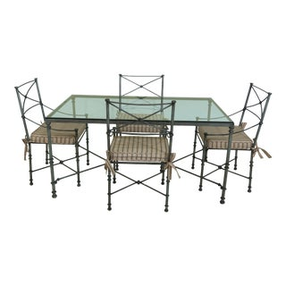 Iron Glass Top Decorator Dining Table & Chairs Set For Sale