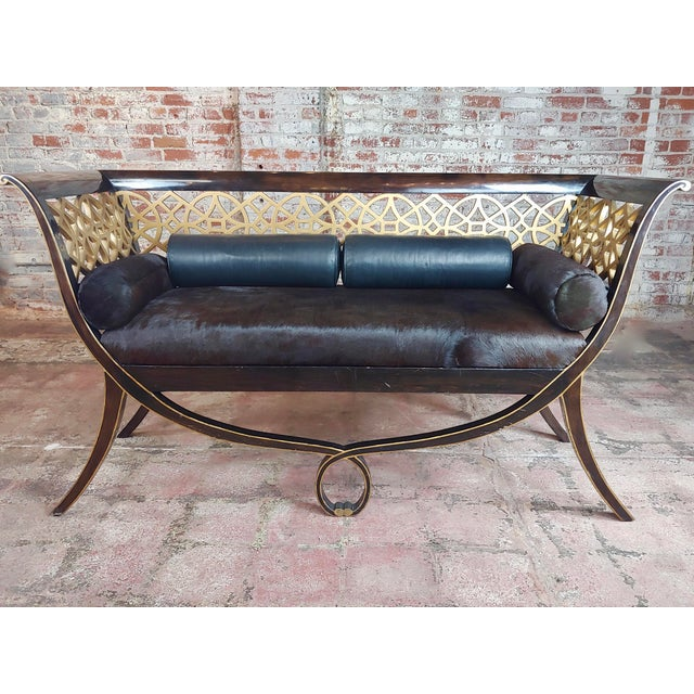 Regency laquered & Parcel Gilt Canape Settee w/Hide upholstery size 66 x 22 x 36""