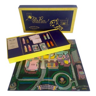 "Vintage 1937 Art Deco Rare "" Mr. Ree the Fireside Detective "" Mystery Board Game Set For Sale"