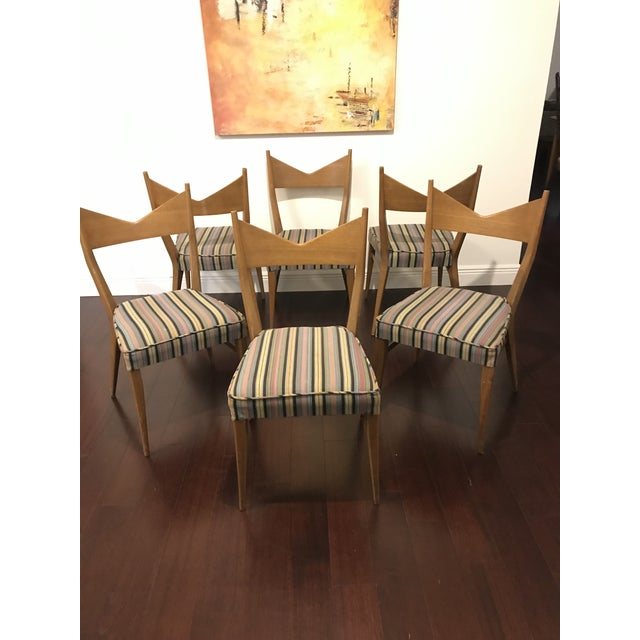 Lovely set of 6 Paul McCobb dining chairs for Calvin/ Directional. Elegant lines throughout. Chairs are mahogany, with...