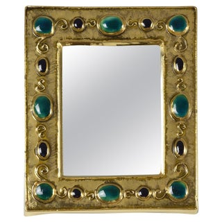 Mid 20th Century French Mid-Century Ceramic Mirror Frame by François Lembo For Sale