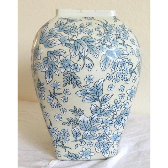 Tall Vintage White & Blue Floral Oriental Vase - Image 2 of 8