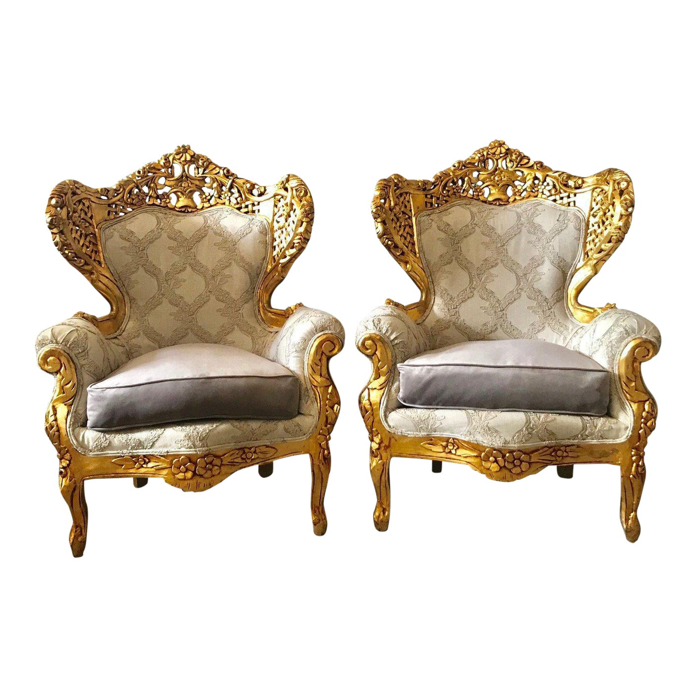 1900s Vintage Italian Rococo Style Chairs A Pair Chairish