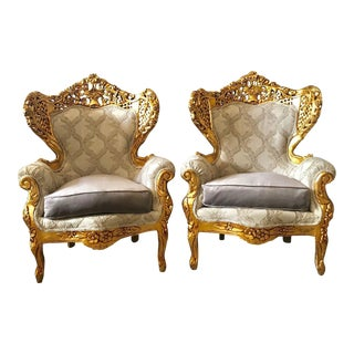 1900s Vintage Italian Rococo Style Chairs- A Pair For Sale
