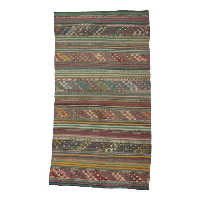 1960s Turkish Embroidered Kilim Rug For Sale