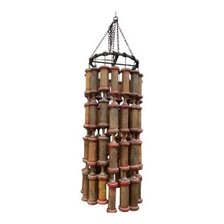 Antique Wooden Spool Chandeliers For Sale