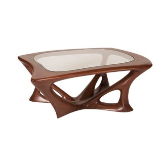 Amorph Ariella Walnut Finish Coffee Table With Glass Top For Sale