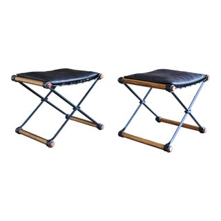 Mid-Century Modern Cleo Baldon for Terra Iron Campaign Stools - a Pair