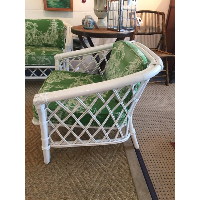 Asian Ficks Reed Vintage Schumacher Fabric Trellis Barrel Chair For Sale - Image 3 of 6