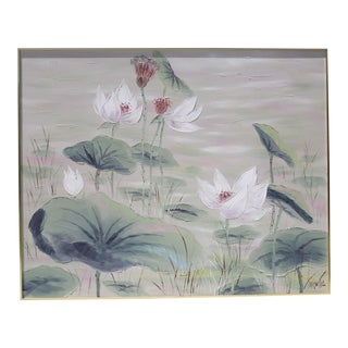 1970's Oversized Lotus Oil Painting by Lee Reynolds For Sale