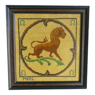Vintage Framed Lion Needlepoint Artwork For Sale