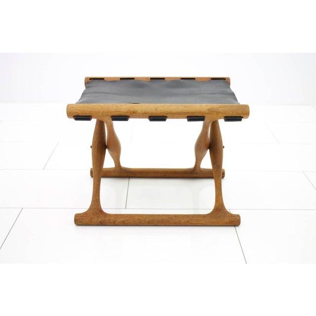 Poul Hundevad Folding Stool, Teak and Leather For Sale - Image 6 of 7