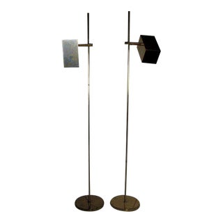 1960s Mid-Century Modern Koch Lowy Adjustable Height Reading Lamps - a Pair For Sale