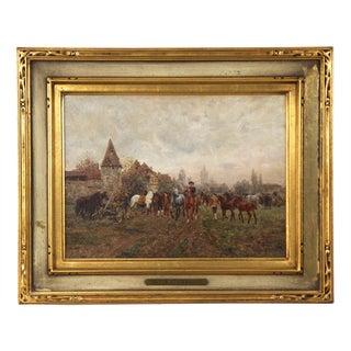 "Wilhelm Velten 'Russian/German, 1847-1929' Antique Oil Painting ""The Horse Fair"" For Sale"